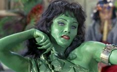 Featuring Susan Oliver with the original green-skinned Orion slave girl look from 'Star Trek'. Star Trek Tv Series, Star Trek Tos, Star Wars, Susan Oliver, Led Zeppelin Poster, Nichelle Nichols, Yvonne Craig, Star Trek Characters, Star Trek Universe