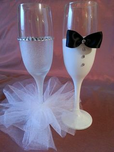 Bride and Groom Hand Painted Champagne by CraftyZeteCreations, $25.00