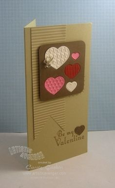 handmade Valentine card ... tall and thin format ... panel with set of die cut and embossed hearts embedded into holes cut from the stame die ... great look ...