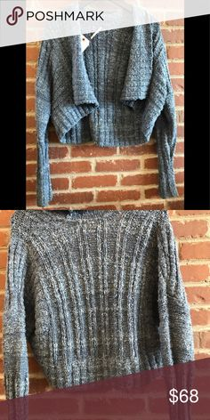 Free People sweater shrug cropped cardigan Chunky, pretty knit shrug in denim blue multi colors! So cute! Long arms, better than a Jean jacket! Barely wore Free People Sweaters Shrugs & Ponchos