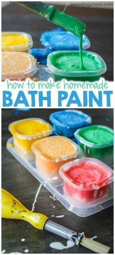 Looking for a gentle homemade bath paint recipe? Try this fun and colorful bath time activity that is also safe for baby's skin.