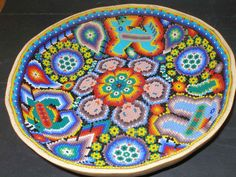 Huichol-Beaded Gourd Prayer Bowl Seed Bead Art, Seed Beads, Day Of The Dead Mask, Yarn Painting, Mexican Designs, Gourd Art, Mexican Folk Art, Beaded Flowers, Gourds
