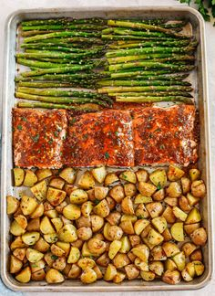 Salmon Recipes, Seafood Recipes, Cooking Recipes, Healthy Recipes, Salmon And Asparagus, Salmon With Potatoes, Baby Potatoes, Recipe Sheets, Eat Yourself Skinny