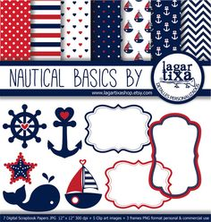Digital Paper Navy Nautical Red Marine Girly Background Blue marine chevron stars starfish blog stripes vintage patterns boat anchors sailor