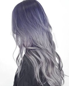 Long locks. #Lavender roots. #Metallic tips. Falling madly in #love with this look by hair artist @dearmiju