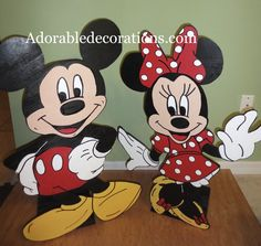Mickey & Minnie Mouse Birthday Decorations  3ft Wood Standees  Adorabledecorations.com   The perfect decoration for birthdays, rooms, front yards, parties, baby showers, graduations, birthdays, preschools, daycare, schools, etc. This is the perfect addition to your party or event! Hang it on a wall, put it on a stake in the garden or put it on a table top. Decorate a children's room, play room etc.