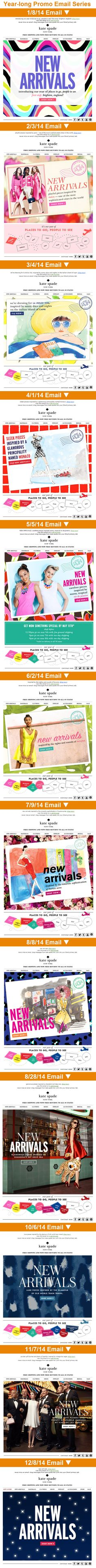 """Kate Spade >> sent monthly during 2014 >> new arrivals >> When most email marketing campaigns are decidedly short-term, Kate Spade's year-long """"Places to Go, People to See"""" campaign really stands out. Each email focuses on new clothing arrivals inspired by different locales, and the banner at the bottom of the email ties them all together. —Anna Meier, Manager, East Creative Services, Salesforce Marketing Cloud"""