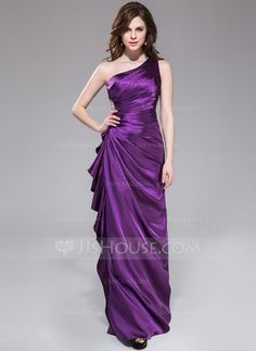 Bridesmaid Dresses - $129.99 - Sheath/Column One-Shoulder Floor-Length Charmeuse Bridesmaid Dress With Beading Cascading Ruffles (007051842) http://jjshouse.com/Sheath-Column-One-Shoulder-Floor-Length-Charmeuse-Bridesmaid-Dress-With-Beading-Cascading-Ruffles-007051842-g51842