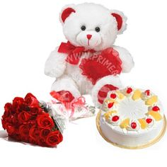 Send Teddy Bear Cake And Red Roses To Pakistan Birthday GiftsValentine