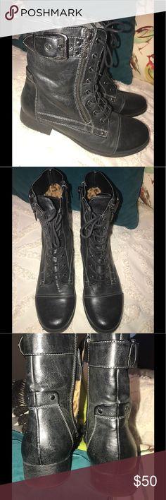 GUESS 🖤COMBAT 🖤BIKER BOOTS 9.5 inside zip EUC🖤 GUESS 🖤COMBAT 🖤BIKER BOOTS 9.5 inside zip EUC🖤 G by Guess Shoes Combat & Moto Boots