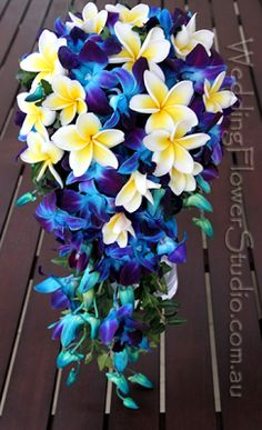 Blue Wedding Flowers blue orchids with frangipanis cascade bridal bouquet. Jo is a fantastic florist and she works with what your looking for. Plumeria Bouquet, Blue Orchid Bouquet, Frangipani Wedding, Cascading Bridal Bouquets, Blue Orchids, Flower Bouquet Wedding, Ranunculus, Peonies, Wedding Flower Packages