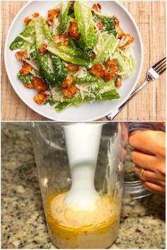 Aqui em casa a salada preferida é Ceaser Salad, meus filhos amam. Minha filha ama tanto que as vezes come o molho sozinha, sem a salada mesmo. rsss… Aliás esse é o segredo desta salada&#8230…