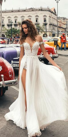 21 Wedding Dresses 2018 From Top Designers ❤️ wedding dresses 2018 off the shoulder deep v neckline with slit beach julie vino bridal ❤️ Full gallery: https://weddingdressesguide.com/wedding-dresses-2018/ #bridalgown #weddingdresses2018 #wedding #bride
