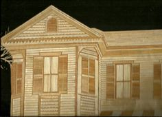 Victorian Homes Galveston, TEXAS Handmade with leaves of rice plant  by museumshop, $69.00