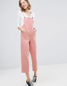 Image 1 of ASOS Denim Dungaree in Washed Pink
