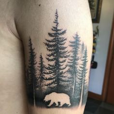 Cali Bear off for a stroll, thanks Edder!  #bodyelectrictattoo #california #forest #foresttattoo #bear #beartattoo #trees #treestattoo