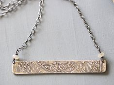 Bar Necklace Sterling Silver Paisley Hand Embossed