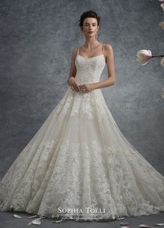 Y21743 Jupiter - Sleeveless misty tulle and allover shimmer point d'esprit ball gown adorned with lace appliqués throughout, spaghetti straps and wide scooped neckline trimmed with hand-beading, back corset, chapel length train.  Also available with back zipper and diamante buttons as Y21743ZB.