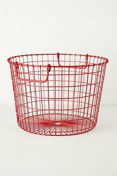 red veggie picking basket