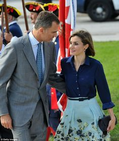 Designer darling: The chic 43-year-old wore a blue Carolina Herrera ensemble for the occas...