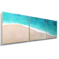 Beach Art,   TROPICAL SHORELINE No.3,   Set of 3 12x12 Acryic Canvas Paintings for Home and Office Decor. by nJoyArt, via Etsy.