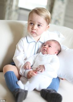 A newborn Princess Charlotte pictured with her brother George pictured in June 2015. The Duchess chooses UK or designers local to where she's visiting and generally picks affordable outfits - a practice she's extended to her children who do not wear high end designer brands