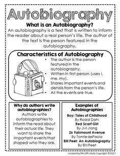 Autobiography Genre Anchor Chart