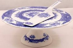 Godinger Antique Reflections Footed Cake Plate Server Blue French Country Roses | eBay