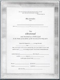 Christening Certificates for Godparents | Silver Elite Blank, Landscape Style Christening Certificates