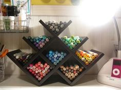 In the office: A wine rack like this one Brenscraps found and shared on Scrapbook.com is perfect for organizing a collection of pens, pencils or markers.