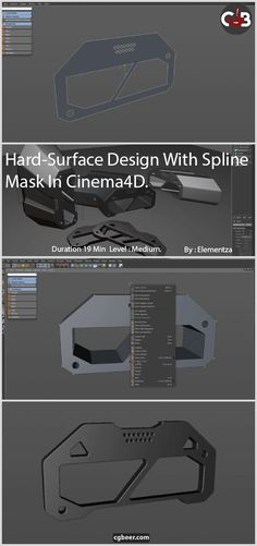 "How could I get interesting cable holder designs without much ""modeling"".Hard-Surface Design With Spline Mask In Cinema 4D,#tutourials.#c4d,#3dmodeling,"