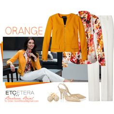 Butternut orange jacket, Briar, Posh ivory pant - Etcetera Fall Collection by biseletcetera on Polyvore featuring мода, Jimmy Choo, Loushelou and Etcetera