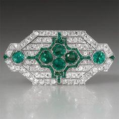 Art Deco Antique Emerald & Diamond Brooch Pin Solid Platinum