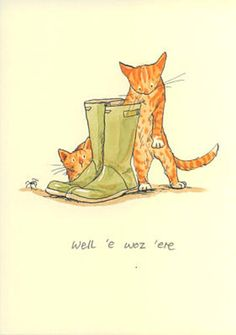 Two Bad Mice Greeting Card - Well e Woz ere by Anita Jeram
