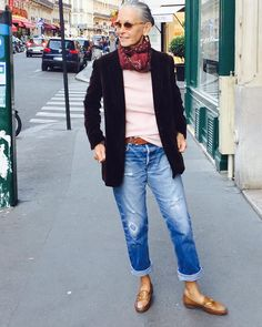 This is the kind of thing I'd wear all the time. Love the shoes and the fit of the jeans, the casual color choices. I'd prefer a softer-cut sweater in a different neutral instead of this more structured black jacket though. (linda v wright)