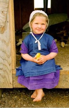 Sweet little Amish girl and the baby chichens~ Sarah's Country Kitchen ~