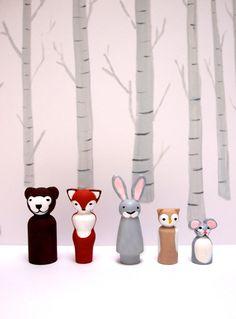 painted+peg+dolls+woodland+creatures+woodland+by+NayanaIliffe,+$45.00