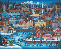 Canadian Hockey   by Eric Dowdle   Even though the Canadian Parliament voted Lacrosse as the o cial summer sport of Canada but we all know what the true Canadian sport is…… HOCKEY!!! Evolved from various sports, Hockey has become a national pastime for Canada be it on a frozen pond, a community ice sheet, or at a NHL Area. This festive winter scene by Eric Dowdle features hockey roots in a typical small town celebrating the season with a rousing gathering around the frozen river. ~ Fine Art