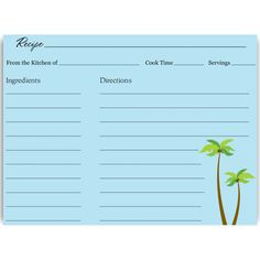 Have guests share recipes at your bridal shower with this beach themed recipe card featuring palm trees, backed in sky blue.