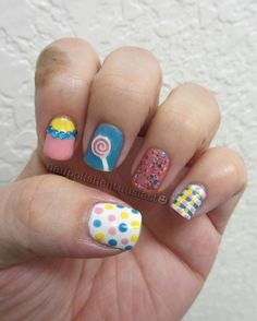 Get some inspiration for candy themed nail art at the Candy Aisle! We love these candy-coloured mix n match designs. www.candyaisle.com
