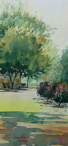 Watercolor Painting By Sarayuth Mepan ; Watercolor Pictures, Watercolor Trees, Watercolor Sketch, Watercolor Landscape, Abstract Watercolor, Watercolour Painting, Landscape Art, Painting & Drawing, Landscape Paintings