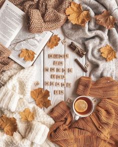 cozy fall flatlay