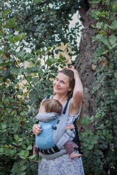 New ergonomic soft carrier backpack for babys from NB till 5 y. Blue cotton with Didymos Laura. 169$