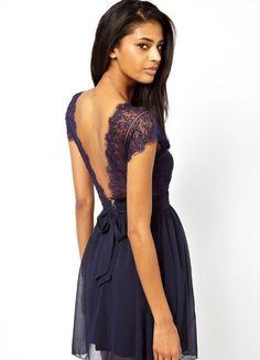Navy V Neck Backless Lace Pleated Dress