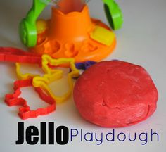 Make homemade Playdough with Jello - and it smells good, too.  You can even add glitter or neon food color. (I found neon colors in my local dollar store.)  Fun.