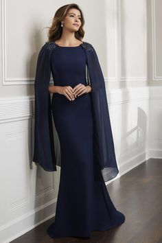 Christina Wu Elegance 17915 Sleeveless long dress and detachable Chiffon cape. Dress shoulders and cape decorated with beaded motifs. Mother Of The Bride Gown, Mother Of Groom Dresses, Mothers Dresses, Bride Gowns, Bridesmaid Dresses, Wedding Dresses, Maxi Dresses, Party Dresses, Dress Outfits