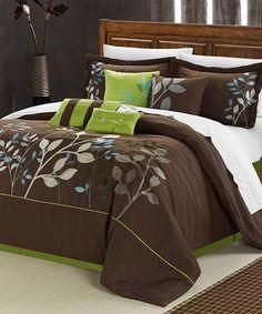 LOVE THE COLORS- Brown Bouquet Comforter Set