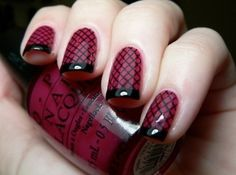 Burgundy nails with a fishnet twist!