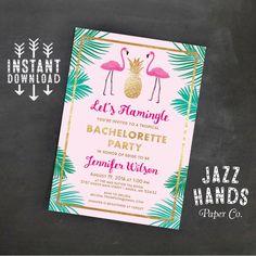 Lets Flamingle Printable Bridal Shower Invitation Template Flamingo Party Wedding Shower Tropical Pineapple Flamingo Invitation Flamingo Party, Flamingo Baby Shower, Flamingo Birthday, Shower Baby, Baby Shower Invitation Templates, Printable Birthday Invitations, Bachelorette Invitations, Bridal Shower Invitations, Bachelorette Parties