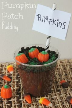 Pumpkin Patch Pudding Cups Fall Treat - May try this with store bought pre-made pudding cups.